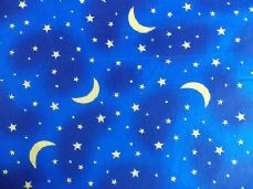 STARS AND MOONS NIGHT TIME FABRIC PER 1 METRE